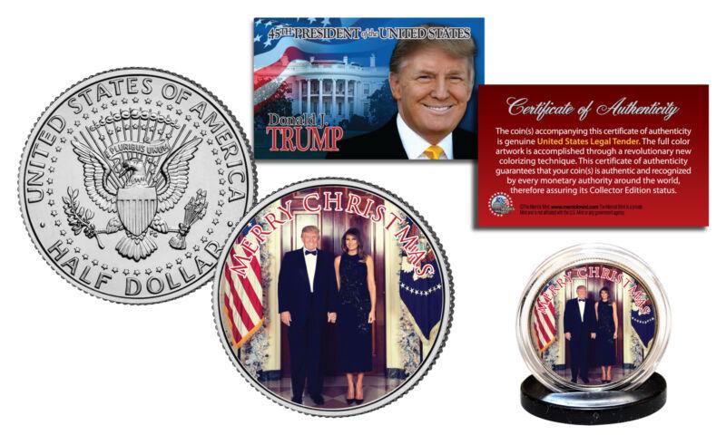 DONALD & MELANIA TRUMP Official White House XMAS Photo JFK Half Dollar U.S. Coin