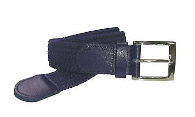 #4001 - BRAIDED NYLON STRETCH BELT IN SOLID NAVY BLUE AND 6 SIZES TO FIT MOST