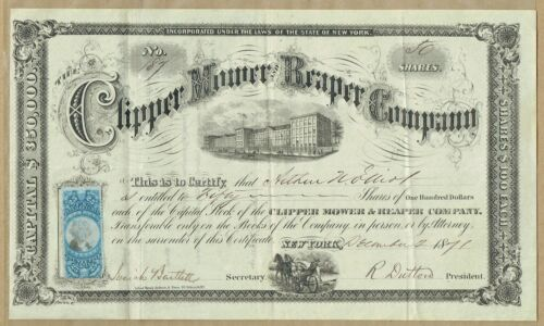 CLIPPER MOWER & REAPER CO., NYC 1871 STOCK CERT.