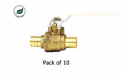 34 Pex Brass Shut Off Ball Valve Full Port Psi Non-shock Wog Lead Free 10 Pack