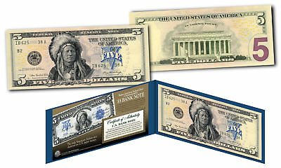 1899 Native American Indian Chief $5 Banknote on Genuine Official Modern $5 Bill
