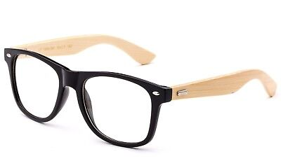 Real Bamboo Temple Classic BLACK Frame Bamboo Reading Glasses Vintage Bamboo (Bamboo Reading Glasses)
