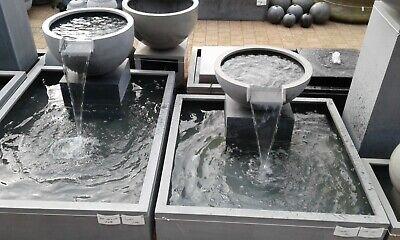 fontaine de jardin ,1 bac d eau rectangulaire + une demi boule lame, nouveau !