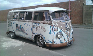 VW volkswagen camper van split screen ratlook air ride slammed 1966