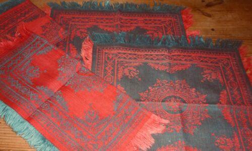 Antique French Indigo Blue Turkey Red Damask Fabric Napkins ~ Unique ~*  6