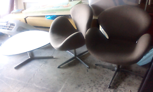 2 swan chairs and white table Bonnyrigg Heights Fairfield Area Preview
