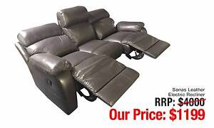 SONAS LEATHER ELECTRIC RECLINER THREE SEATER DARK CHOCOLATE TONE Ultimo Inner Sydney Preview