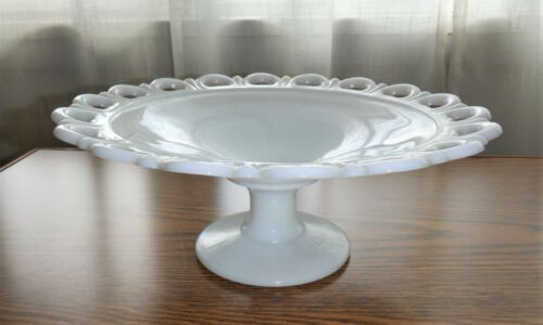 """Vintage Milk Glass Old Colony Open Lace Edge 11"""" Footed Pedestal Fruit Bowl"""