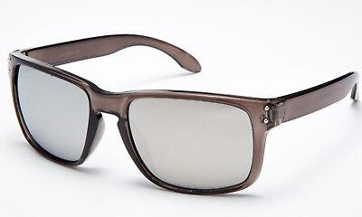 - Grey Transparnts Frame Sunglasses Brown Flash Mirror Lens Retro Unique New Style