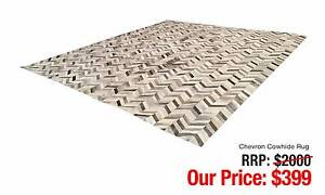 CHEVRON COWHIDE PATTERNED RUG EARTH AND STONE TONES Leumeah Campbelltown Area Preview