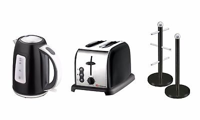 SQ Pro.Dainty Toaster, Mug Tree, Kitchen Roll Holder And Kettle 1.7L Onyx/