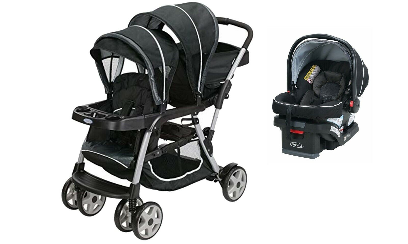 Graco Baby Double Stroller Sit N Stand with Car Seat Kids To