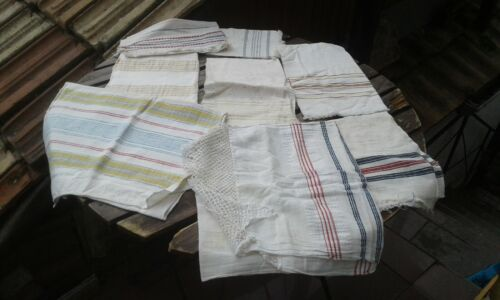 ANTIQUES PRIMITIVE OLD HAND WOVEN HOMESPUN TOWELS LACE COTTON LOT OF 8