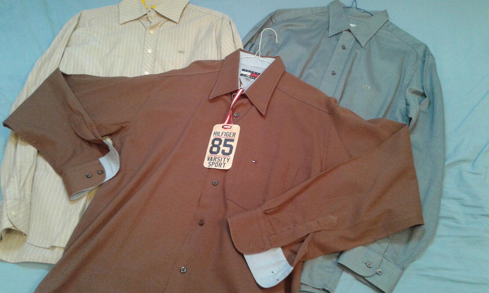 Lot de 3 chemises taille l  lacoste , hilfiger , burberry