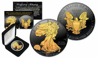 Black RUTHENIUM 1 oz Silver 2016 American Eagle U.S. Coin with 24K Golden Enigma