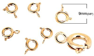 Gold Plated Jewelry Findings - Gold Plated Spring Ring Clasp Hook 9mm Round Findings Beading Jewelry Supplies