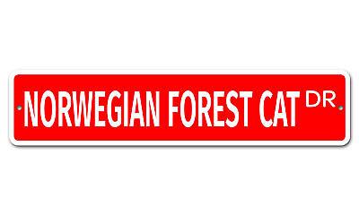 """6879 SS Norwegian Forest Cat 4"""" x 18"""" Novelty Street Sign Aluminum"""