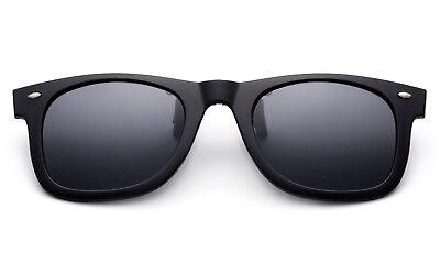 Matte Black Polarized Lens Glare Block Clip on Glasses Flip Up Sunglasses - Flip Glasses