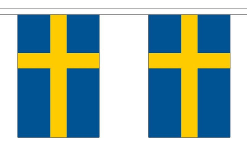 SWEDEN FLAG BUNTING 9 METRES 30 FLAGS Polyester cloth STOCKHOLM SWEDISH MALMO