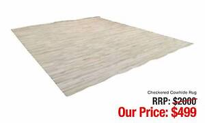 CHECKERED COWHIDE RUG IN LIGHT CREAMY COLOUR Leumeah Campbelltown Area Preview
