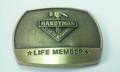 1996 BRASS HANDYMAN HARDWARE HANDYMAN CLUB OF AMERICA LIFE MEMBER BELT BUCKLE