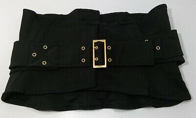 Gucci Authentic Vintage Fabric Wide Black Gold Buckle Corset Waist Belt IT42