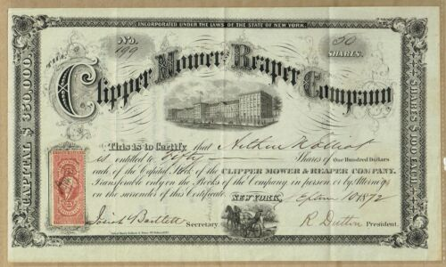 CLIPPER MOWER & REAPER CO., NYC 1872 STOCK CERT.