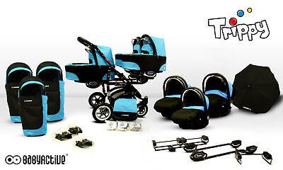 Triple Triplets Kinderwagen Buggy BabyActive Trippy 2017 3 in 1 / Reisesystem ()