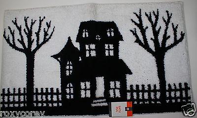 Halloween White & Black Haunted House & Trees Bath Rug 20x34 NWT - Halloween Trees