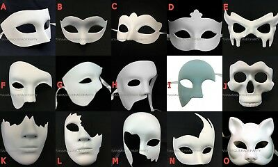 White Masquerade Mask Base Costume Prom Party Phantom Half Face Eye Halloween