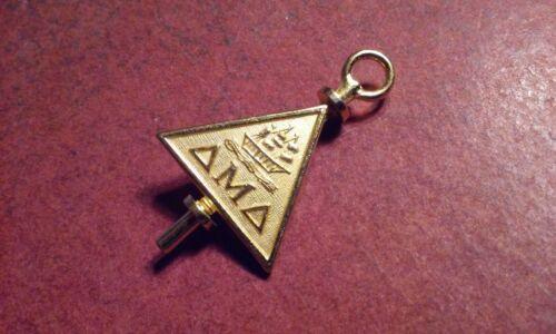 Delta Mu Delta Beta Epsilon Sorority Fraternity Key Charm Brooch Pin Gold Tone