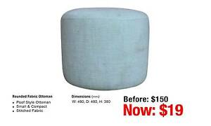ROUNDED FABRIC OTTOMAN SAPPHIRE COLOUR Leumeah Campbelltown Area Preview