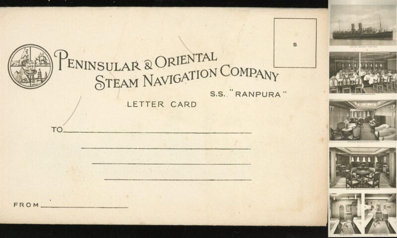 Peninsular & Oriental Steam Navication Company  photo Letter Card S.S. Ranpura