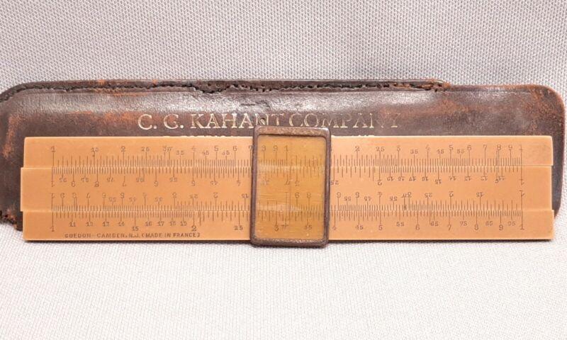 ANTIQUE 1920s GUEDON CELLULOID POCKET SLIDE RULE FRANCE C G KAHANT LEATHER CASE