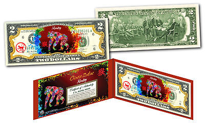 YEAR of the MONKEY - Chinese Zodiac Official $2 U.S. Bill RED POLYCHROME Edition Chinese Zodiac Year Monkey