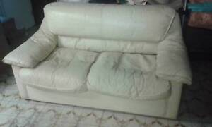 White Leather Couch $145 Albion Brisbane North East Preview