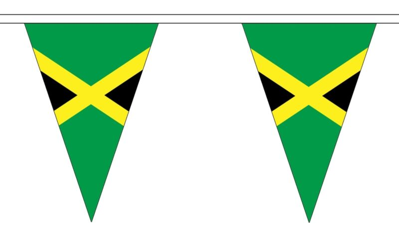 JAMAICA 20 metre TRIANGLE BUNTING 30 FLAGS flag 54 FLAGS JAMAICAN CARIBBEAN