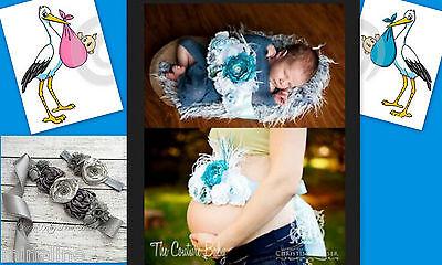 ★★★ NEU Schwangerschafts & Baby Fotoshooting Set Blütengürtel & Haarband ★★★Nr.H