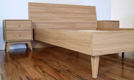 Retro Queen Bed Frame with Bedsides - BRAND NEW