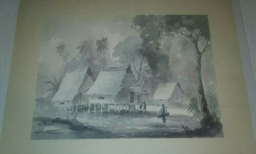 A.J. RAHMAN OLD FISHERMAN VILLAGE WATERCOLOR LANDSCAPE PAINTING Free Ship USA