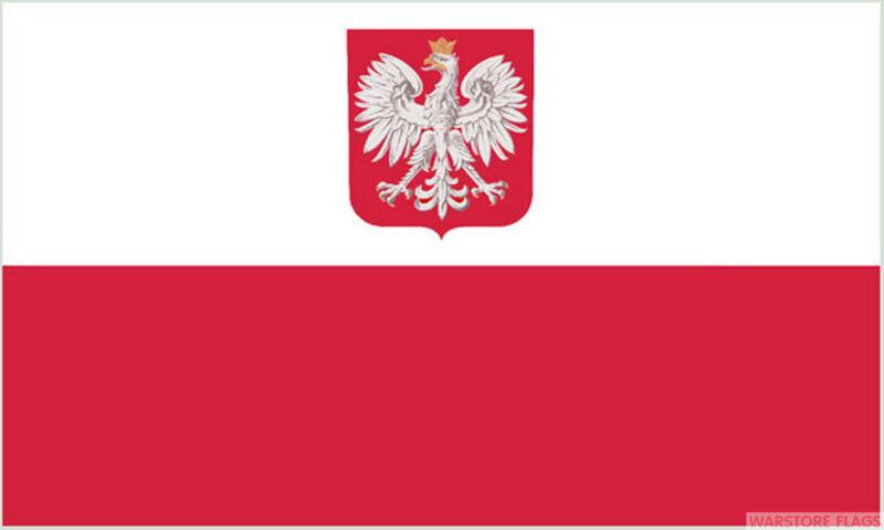 POLAND WITH CREST 5x3 feet NYLON FLAG 150cm x 90cmm flags High quality polish