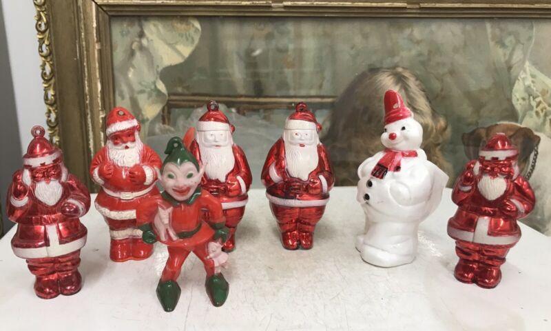 Lot 7 Vintage 1950s Plastic Santas, Elf, Snowman Candy Container