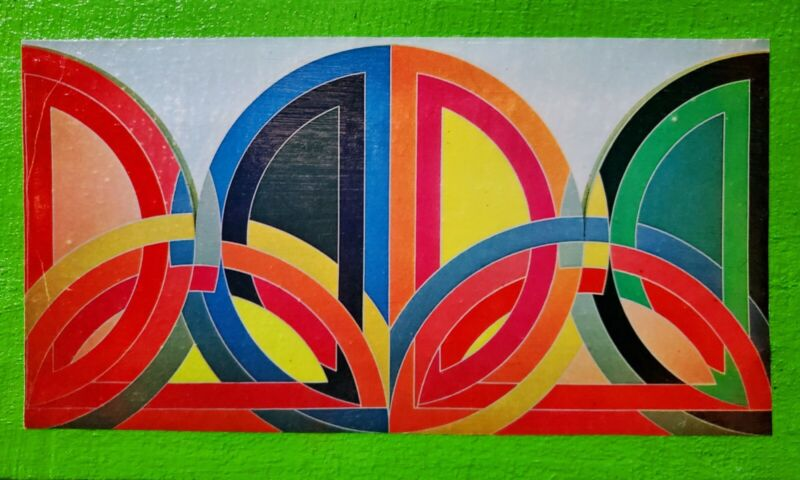 Vintage Mid Century 60s 70s Colorful Abstract Frank Stella Wall Hanging Plaque