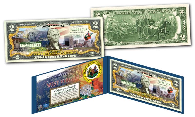 WEST VIRGINIA Genuine Legal Tender $2 Bill USA Honoring America