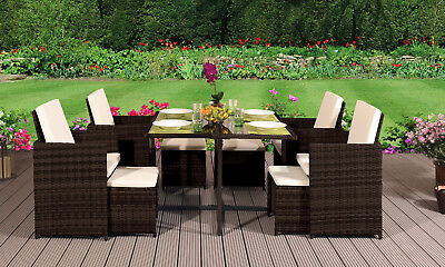 Garden Furniture - CUBE RATTAN GARDEN FURNITURE SET CHAIRS SOFA TABLE OUTDOOR PATIO WICKER 8 SEATER