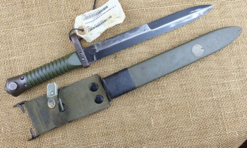 Spanish L-model rifle bayonet. With warehouse tag.