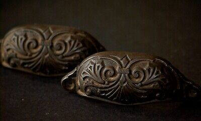 Pair Edwardian ornate antique cast-iron drawer pulls, used