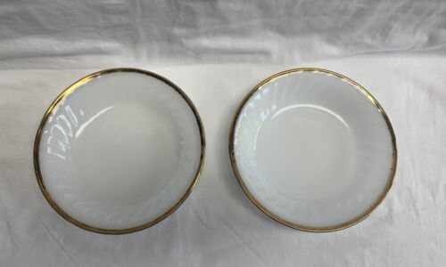 Anchor Hocking Fire King White Milk Glass Bowls (2) with Gold Trim