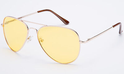 Polarized Aviator Sunglasses Day Night Driving Gold Vintage Sports Mirrored
