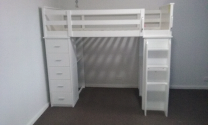 Single loft bed with desk